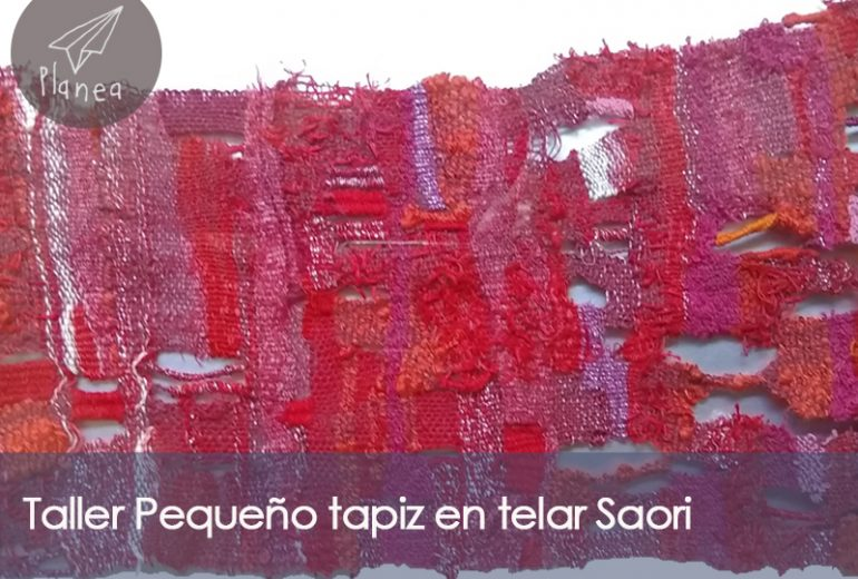 Taller Pequeño tapiz en telar Saori
